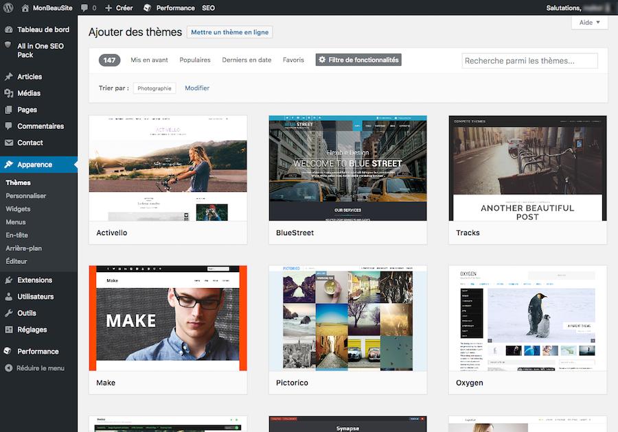 Choisir un th me pour wordpress comment cr er un site for Idee site internet a creer